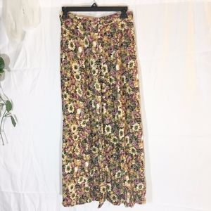 Vintage express long floral button down side skirt